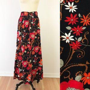 Vintage Maxi Skirt 70s Black Orange Floral Cute S